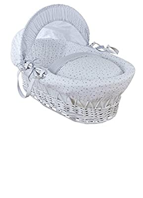Clair de Lune Stars and Stripes White Wicker Moses Basket inc. bedding, mattress & adjustable hood (Grey)