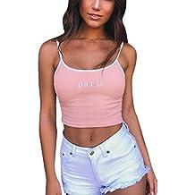 b5d6caa906d Fasumava Femme Crop Top Ete Sexy Camisole Tops Bretelles Cami Tank T-Shirt