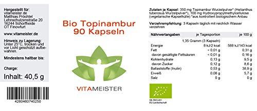 Bio Topinambur Kapseln von vitameister – 90 Stück, Made in Germany, Braunglas (Verpackung)