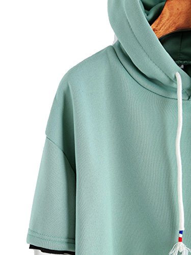 ROMWE Damen Kontrast Raglan Ärmel Pullover mit Kapuze Herbst Winter Kapuzensweatshirt Hoodie Grün