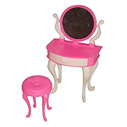Imported 1 Set Plastic Dressing Table and Chair for 29cm Barbie Dolls Random Color