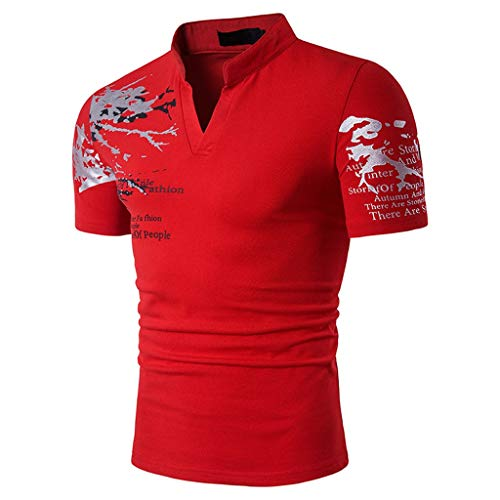 Nadelstreifen Button-down-shirt (Xmiral Tops T-Shirts Herren Poloshirt Mit V-Ausschnitt Kurzarm Casual Oberteile Frühling Sommer Bodybuilding Muskel Bluse(2XL,Rot))