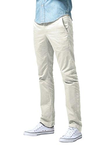 Match Herren Slim Straight Casual Hose #8036(8036 Nicht-gerade weiss,32) (Front Flat Pants Work Baumwolle)