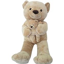 Sweety Toys 6014 XXL l oso de peluche beige Mama 90 cm con bebé 28cm gigante oso de peluche 2en1 súper suaves y dulces blandos