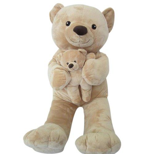 Sweety-Toys-6014-XXL-l-oso-de-peluche-beige-Mama-90-cm-con-beb-28cm-gigante-oso-de-peluche-2en1-sper-suaves-y-dulces-blandos
