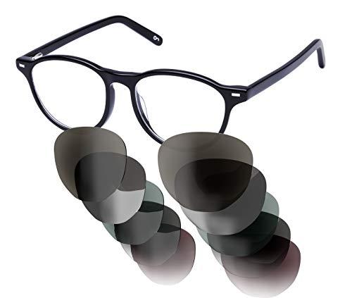 Sym Sonnenbrille mit wählbarer Sehstärke von -4.00 (kurzsichtig) bis +4.00 (weitsichtig) und auswechselbaren Gläsern in 6 Farben, für Damen, Modell 02 in Opaque Black