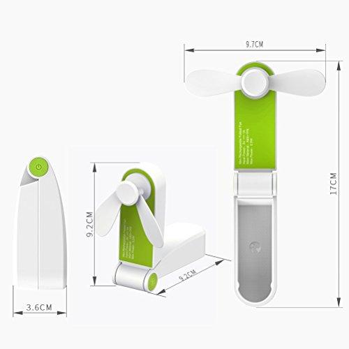 SunnyGod Hauptdekoration liefert Handheld-Mini-Fan, USB Wiederaufladbare oder batteriebetriebene Tischventilator Portable Folding Pocket Fan Kleine Reise-Fans für Zuhause, Reisen, Camping