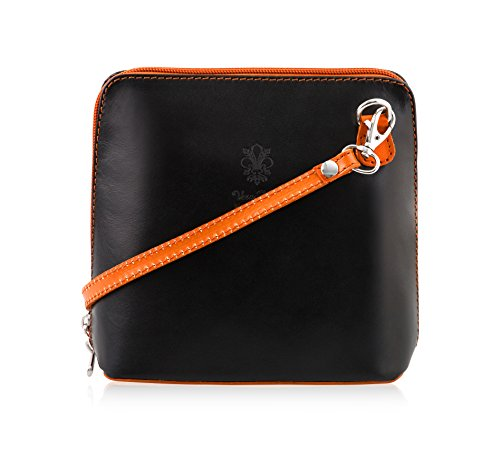 Mayfair Cashmere Made in Italy - 100% italienisches Leder handgefertigt Small/Mini Cross Body/Schulter Handtasche/Clubbing Bag-Design 2018 in Black & Orange (Designer Cross Body Bag)