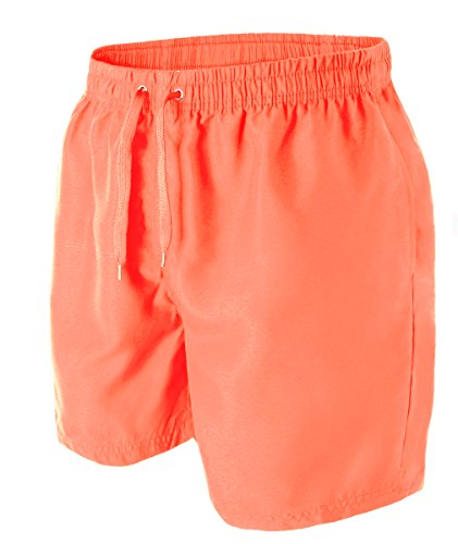 HEMOON Herren Badeshorts Bermudashorts Feitzeithose Trendige Farbe Orange