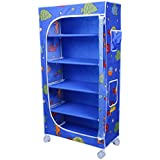 Little One's | 5 Shelves Foldable Wardrobe/Toy Box | Aquatic Blue (Made in India)