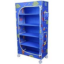 Little One's | 5 Shelves Foldable Wardrobe/Toy Box | Aquatic Blue