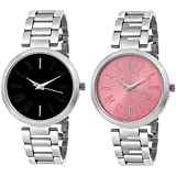 Unique Collection Analogue Women's Watch (Black & Pink Dial Silver Colored Strap) (Pack of 2)