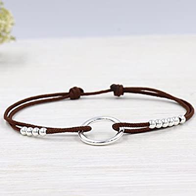 Bracelet cordon anneau et perles argent 925