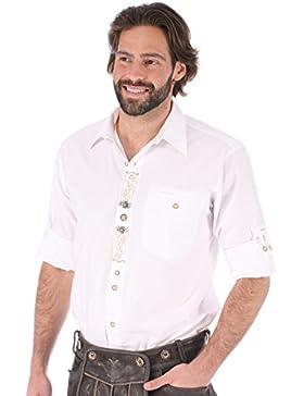 orbis Textil OS-Trachten Trachtenhemd Krempelarm Sticklegende Benno Weiss