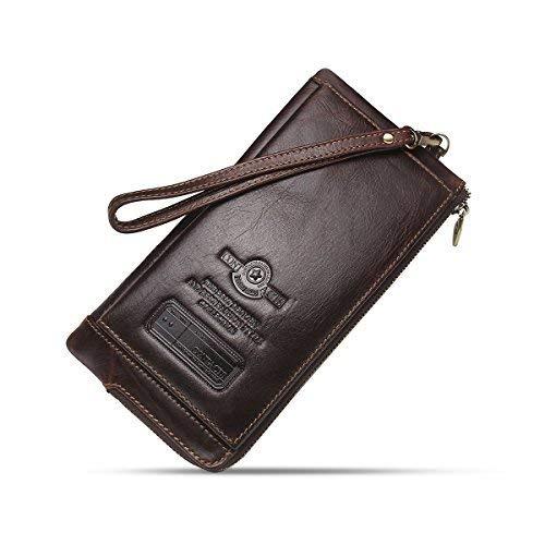Contacts Herren echtes Leder Kreditkarte Reißverschluss Tasche Telefonhalter Clutch Geldbörse lange Geldbörse (Dunkler Kaffee) -