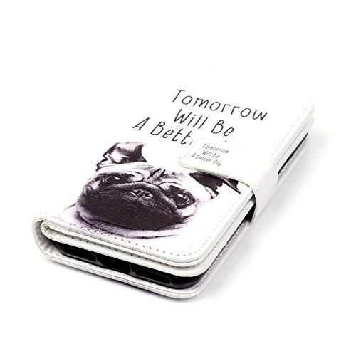 MOONCASE iPhone 7 Coque,[Deer and Tower] Relief Multifonction Fentes de Cartes Housse en Cuir Etui à rabat Case avec Portefeuille Béquille Fermeture Magnétique pour iPhone 7 4.7 Inch(2016) Pug