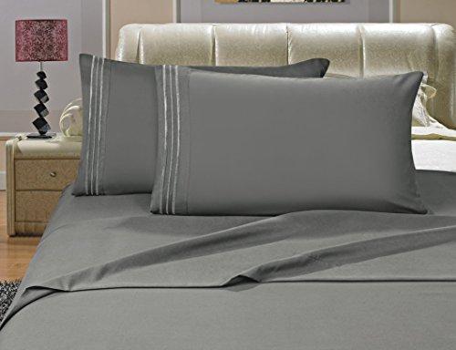 Elegance Leinen-Bettlaken-Set, knitterfest, Fadenzahl 1500, seidig weich, luxuriös, 4 Stück, Tiefe Taschen, bis 40,6 cm, Grau -