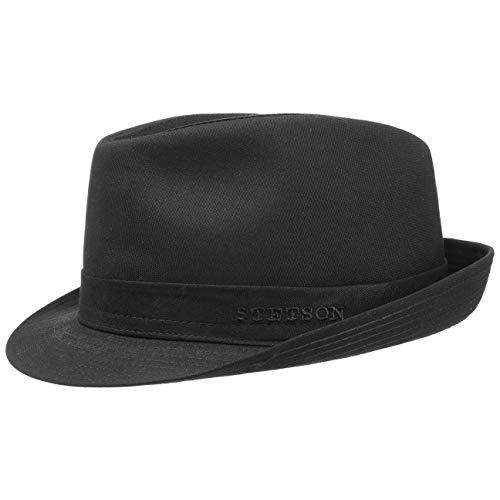 Stetson Teton Stofftrilby Damen/Herren - Trilby Made in Italy - Hut aus 100% Baumwolle - Sommerhut mit UV-Schutz 40+ - Sonnenhut Sommer/Winter schwarz 57 cm