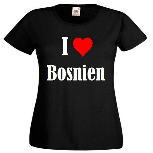 """T-Shirt """"I Love Bosnien"""" für Damen Herren und Kinder ... in der Farbe Schwarz Schwarz"""