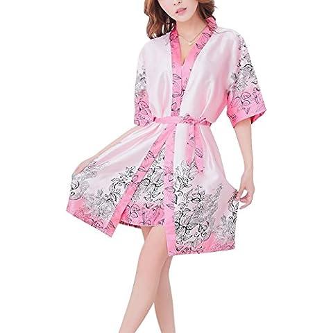 Paplan Donna Manica lunga pigiami di seta allentato Stampa ed Sling Underwear Set