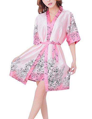 Paplan Damen Langarm-Silk Pyjamas lösen Drucken und Sling-Unterwäsche Set Rosa