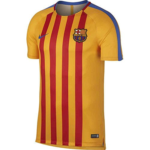2017-2018 Barcelona Nike Pre-Match Dry Training Shirt (University Gold) (Barcelona Pre-match)