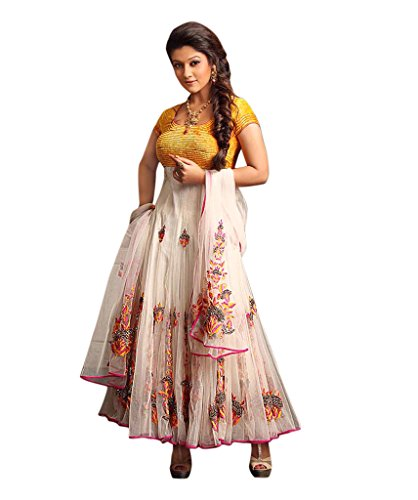 Sancom Yellow & White Colored Georgette Fabric Heavy Embroidered Semi-Stitched Partywear/Designer/Traditional Anarkali Suit