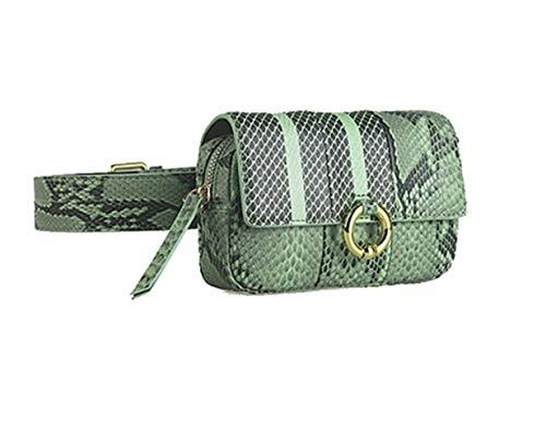 Serpentine Leder (HUOYAN Gürteltaschen Gürteltasche for Frauen Leder Serpentine Lady Gürteltaschen Handytasche Handliche Gürteltasche (Color : Green Waist Bag))