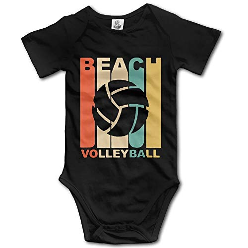 TKMSH Vintage Beach Volleyball Boy's & Girl's Short Sleeve Romper Bodysuit Outfits Black (Ref Kostüm Zubehör)
