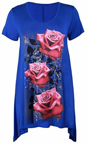 Purple Hanger - Tunique Femme Ourlet Inégal Manche Courte Imprimé Floral Rose Jersey Grande Taille Neuf Bleu Roi
