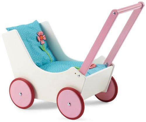 Haba 949 - Puppenwagen Blumen, süßer Puppenwagen aus Holz mit zweifach verstellbarem Bügel, Matratze, Kissen und Decke mit Blumen-Applikation, Spielzeug ab 12 Monaten