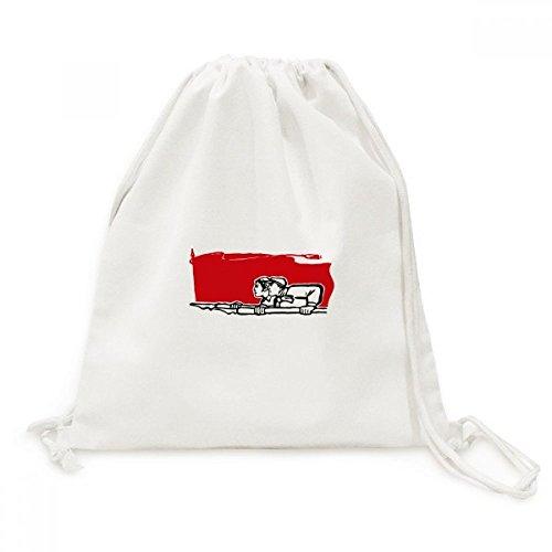 DIYthinker Red Flag Mann Eine Frau Stift Illustration Leinwand Rucksack Reisen Shopping Bags