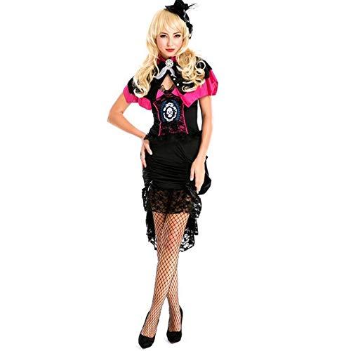 The Queen Kostüm Of Dance - Frauen Erwachsene Halloween kostüme Prom Queen Dress Spitze Smoking Latin Dance kostüm Spiel Anzug (einschließlich Kopfbedeckungen + Rock + Mantel),Black,M