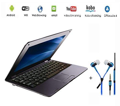 G-Anica® Netbook ordinateur portable Ultrabook Android 4.4, écran 10.2 pouces, (HDMI, Wifi, Ethernet, 1.5GHz 512Mo + 4GO), Il est livré avec un Écouteurs (Noir)