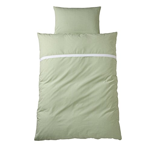 wellyou, baby-kinder bettwäsche, aus 100% Baumwolle,Kinderbettwäsche grün weiß Vichy-Karo, Maße: 100x135 cm