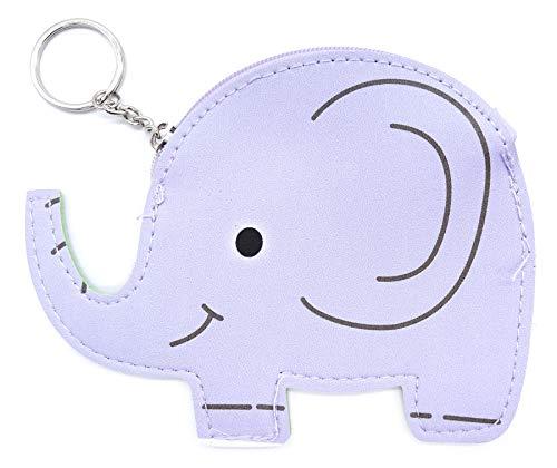 Monedero de Piel con diseño de Elefante, con Cierre de Llavero, Color Lila
