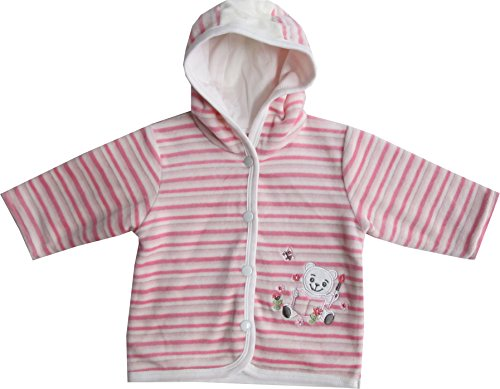 Schnizler Baby - Mädchen Jacke Kapuzenjacke Nicki Lesebär gestreift, Gr. 74, Rosa (original 900)