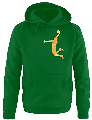 DUNK Basketball Slam Dunkin Kinder Sweatshirt mit Kapuze HOODIE green-gold, Gr.164cm