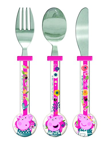 Peppa Pig Cutlery Set, 3 piece, Knife/Fork/Spoon, Pink