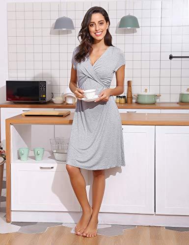f6c83340ae Hawiton Pigiama Camicia da Notte Premaman da Donna Morbido in Cotone Manica  Corta Vestito Camicia da Notte per Parto Ospedale Allattamento XL