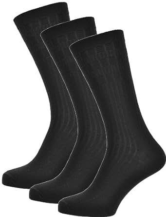 Mens Socks, 3 Pairs Lambswool blend 6-11 UK, Black, non-elastic suitable for Diabetic; Socks