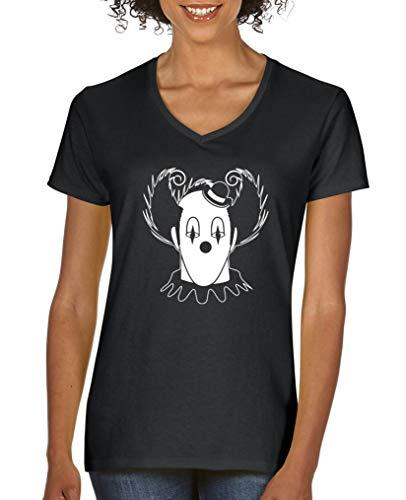Comedy Shirts - Halloween Clown - Damen V-Neck T-Shirt - Schwarz/Weiss Gr. S