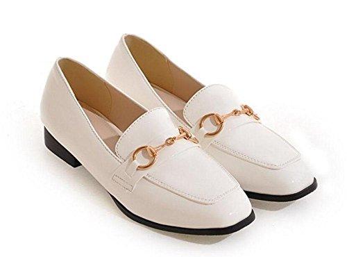 SHIXR Frauen-Geschlossen-Zehen-Pumpen-Pferden-Wölbung Einzelne Schuhe flache Schuhe Gericht Schuhe Boot Schuhe Sandalen White