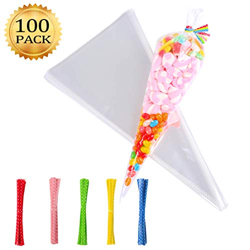 Whaline 100 Pcs Clear Cone Treat Bags Cellophane Sweet Cello Bags 100 Assorted Twist Ties Party, 14.5 7