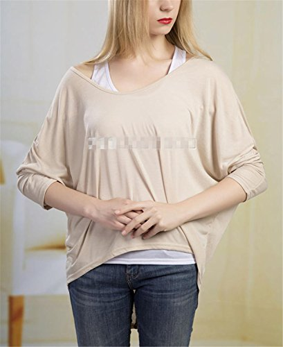 SHUNLIU Damen Oversize Asymmetrisch Langarm Pullover Pulli Strickjacke Lose Baggy Oberteile Jumper T-shirt Tops Bluse Aprikose