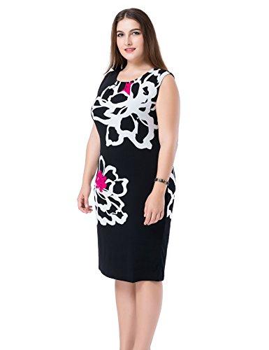 Chicwe Damen Kleid Große Größen aufgedruckte Blumen auf den Ärmeln EU44-60 Weiß/Schwarz