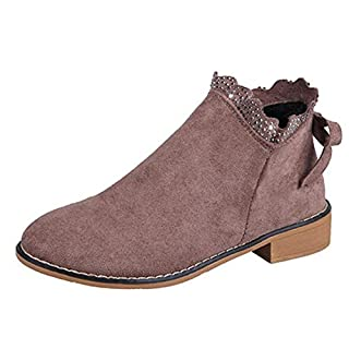 BaZhaHei Fashion Women's Bow Lace Ankle Boots Round Toe Sexy Loafers Flat Shoes Casual Suede Single Boots Women Slip-on Boots Size 2.5-6.5