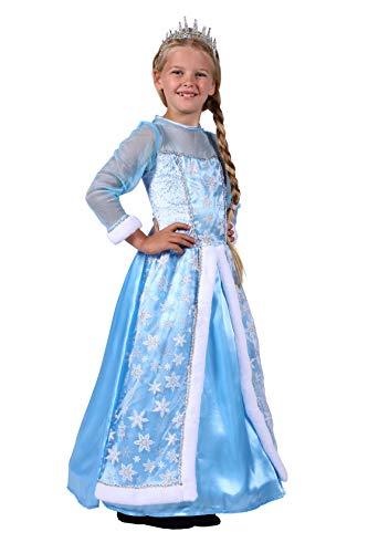 Ball Kostüm Mädchen - Eiskönigin Kostüm Mädchen Hell-Blau lang Ball-Kleid Schneekönigin Märchen Karneval Fasching Verkleidung Größe 116/128 Multi