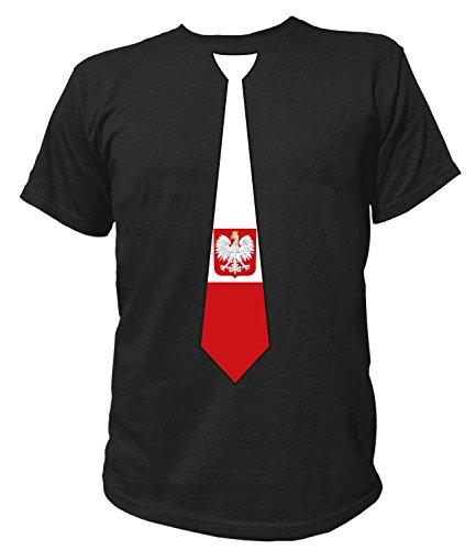 Artdiktat Herren T-Shirt | Polen Polska | Krawatte Tie | Wm Weltmeisterschaft 2018 Russia Russland Größe XXXL, Schwarz