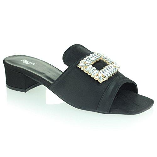 Femmes Dames Broche Détail Diamante Enfiler Talon De Bloc Soir Casual Fête Des Sandales Chaussures Taille Noir